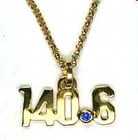 140.6 Triathlon charm in 14KY with blue sapphire